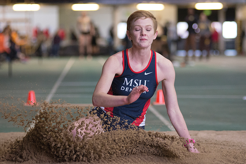 Metro Sarah Hughes participate in the long jump match Jan. 16 at Potts Invitational in Boulder, CO Photo by Abreham Gebreegziabher • agebreeg@msudenver.edu